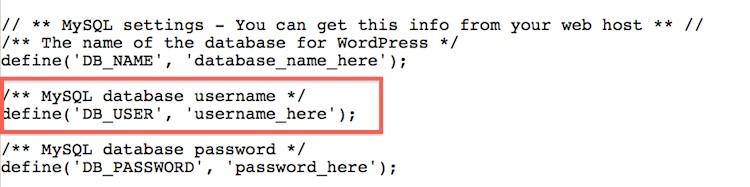 find database username