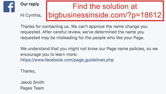 Facebook Page Name Change Denied – How to Get it Accepted